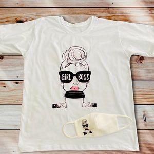 Cute Girl Boss Graphic T-Shirt & faceamask